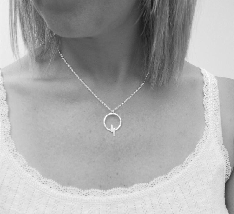 Glass Designs Jewellery By Jo delicate silver necklace with round circle and small lightening shape