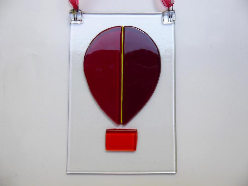 Eva Glass Fused Glass Air Balloon Suncatcher.