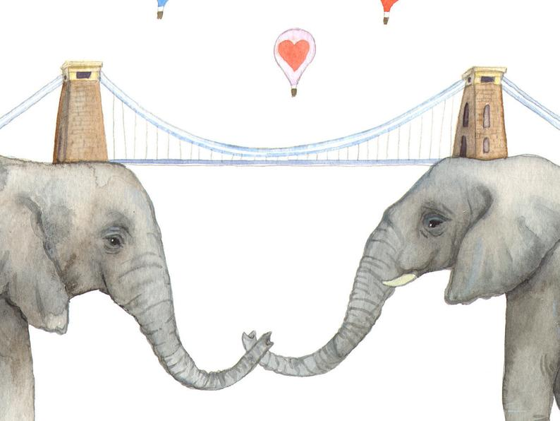 Laura Robertson Elephant Bridge Print