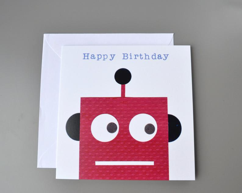 Little Red Apple Robot birthday Card