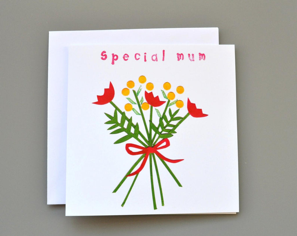 Little Red Apple Special Mum Card great for Mother's Day, Thank you Mum, lovely bouquet of flowers. Made in Bristol.