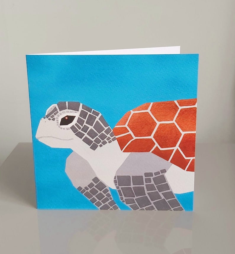 Jemma Yates.  Sea Turtle greetings card.  Blank Card.  Sea Turtle printed original painting.  Sea turtle art.  Greeting card for all occasions.  Geometric.