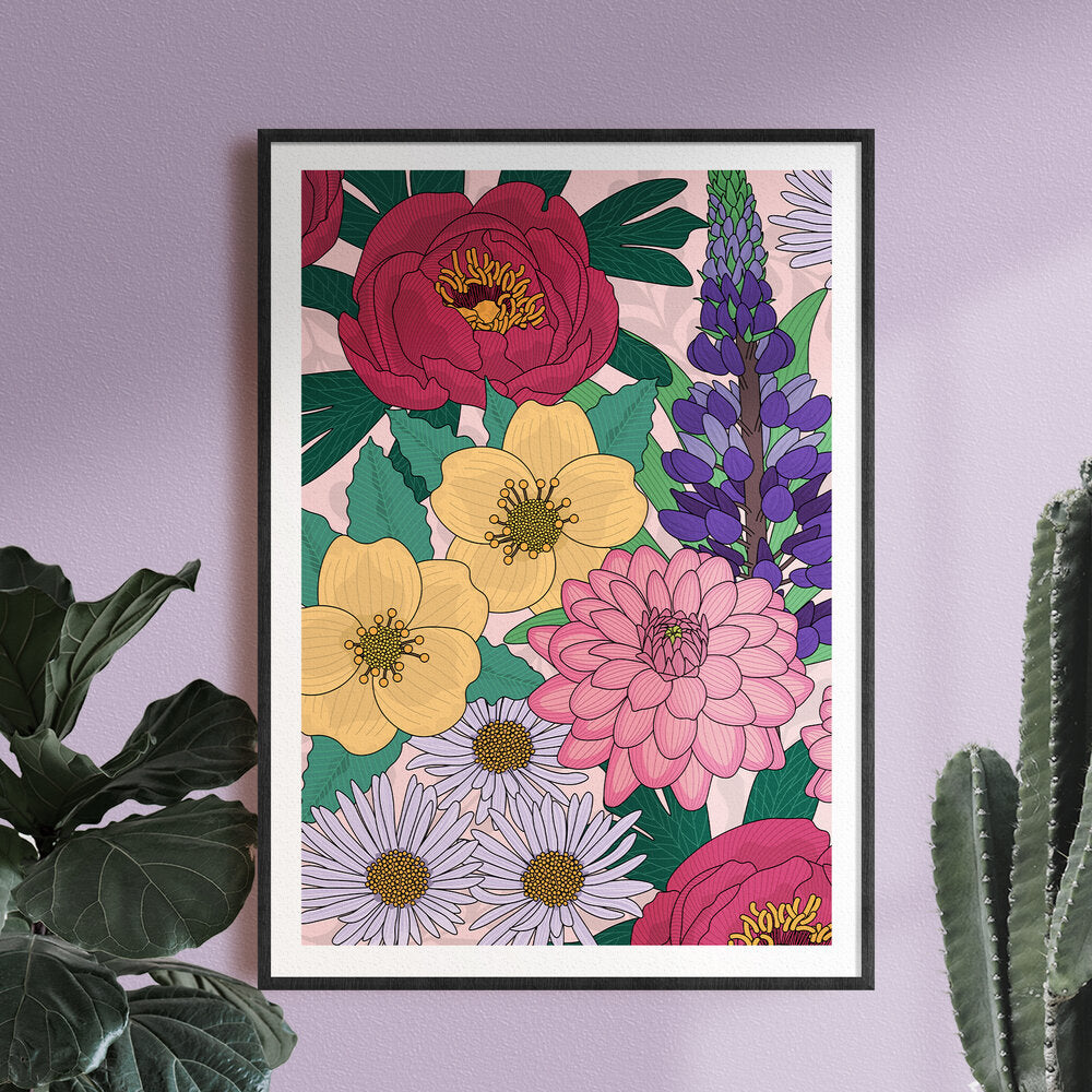 Jessica Mae Designs, Dawn, Print from her Floral digital illustration,
