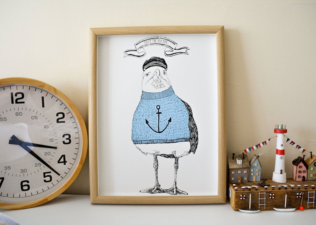 Anna Palamar Designs 'Billy the Sea Dog' Seagull A3 Print