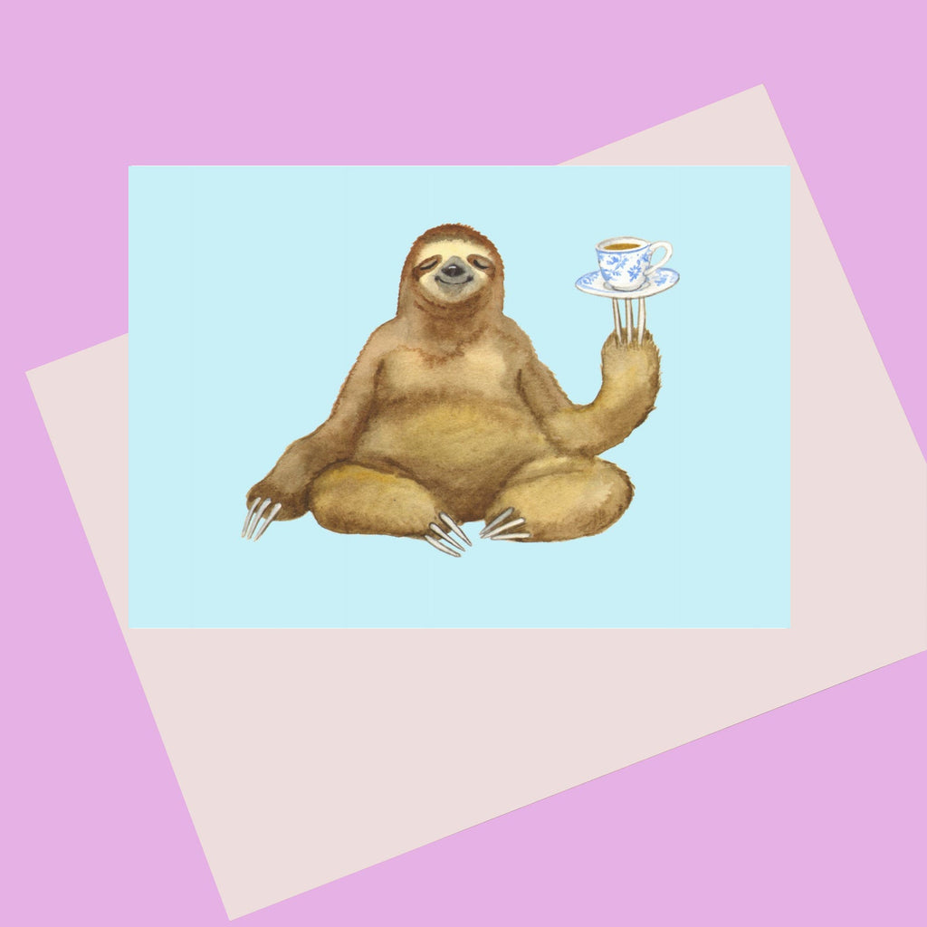 Keep Calm Sloth Card.  A happy Sloth drinking a cup of tea.  Perfect card for any occasion.  Print from Original painting by Laura Robertson a Bristol artist.