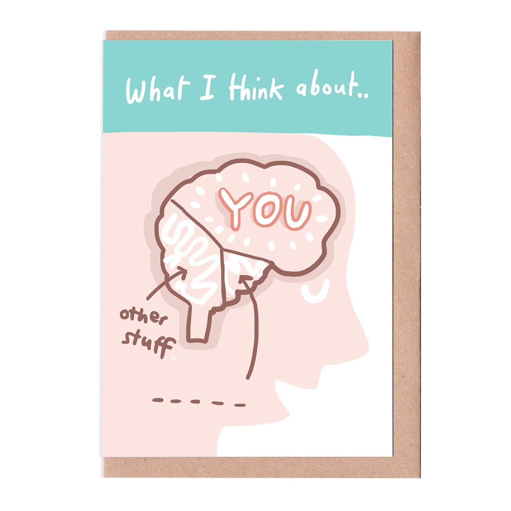Sarah Ray What I think about - you card. Illustrative drawing of a brain.