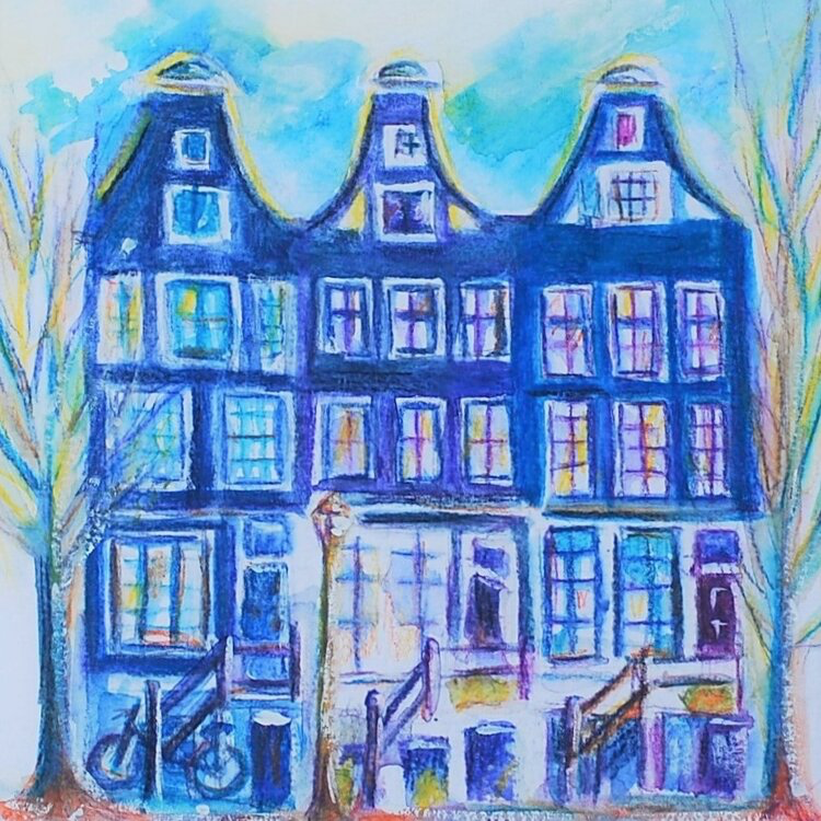 Viv Hunter Art occasional card.  Blue Amsterdam houses drawn with pastel.  Card blank inside.