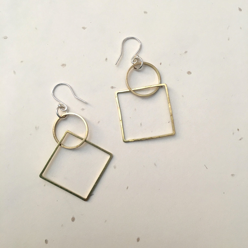 Ava & Bea Circle and Square Earrings