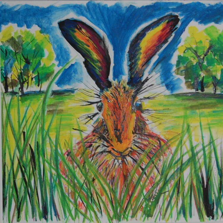 Viv Hunter Art Card.  Colourful painting of a hare in grass.