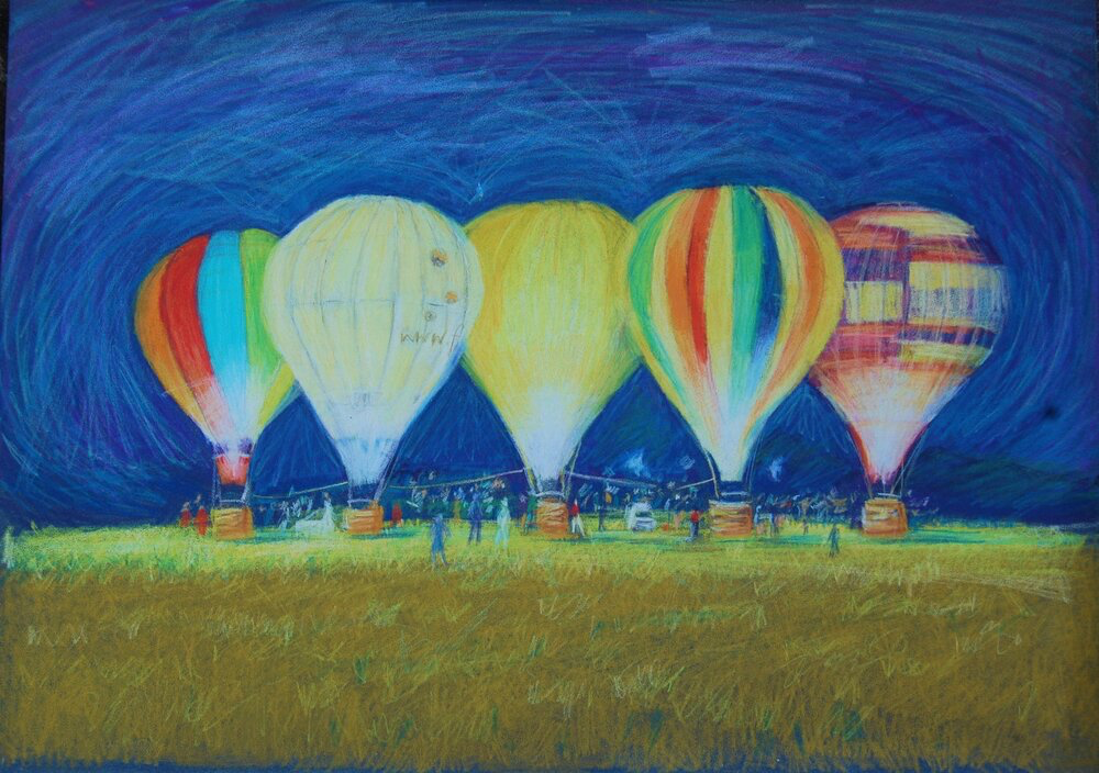 Viv Hunter Art Card.  Colourful painting of the Bristol Balloon Glow.