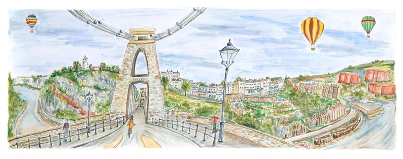 Bristol Print - Clifton Suspension Bridge, Original watercolour, limited edition giclee print, unframed.