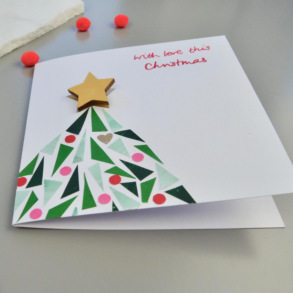 Little Red Apple Christmas Card with Star Brooch.