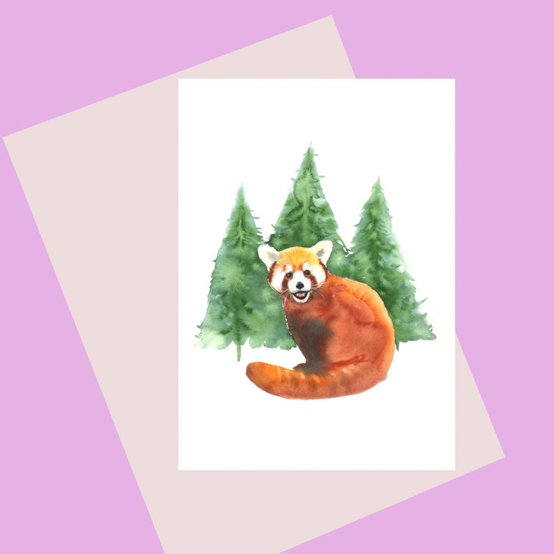 Laura Robertson Card.  Greetings Card. Red Panda. Handmade in Bristol.