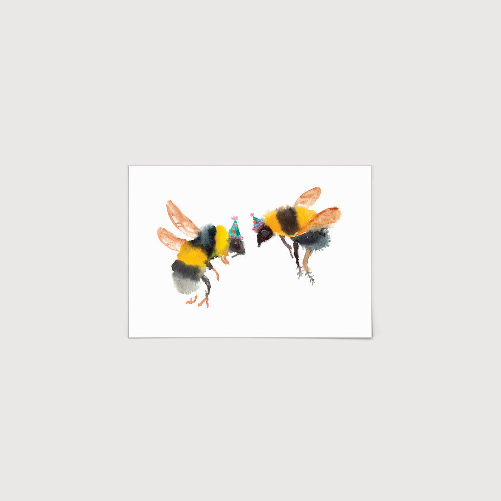 Rosie Webb Bees in Party hats Print