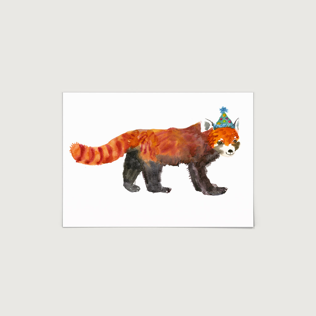 Rosie Webb Red Panda in party hat Print