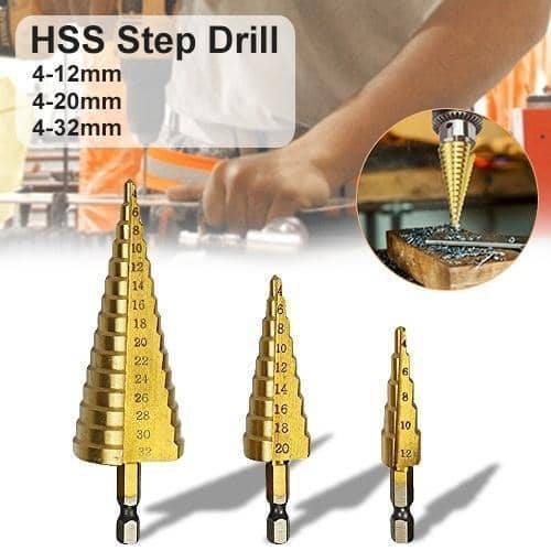 437 -3X Large HSS Steel Step Cone Drill Titanium Bit Set Hole Cutter (4-32, 4-20, 4-12mm)