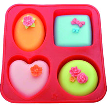 Load image into Gallery viewer, 0773 Silicone Circle, Square, Oval and Heart Shape Soap And Mini Cake Making Mould