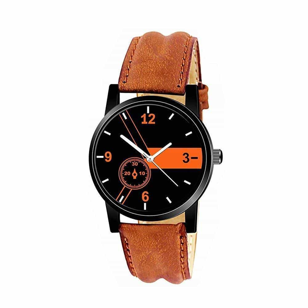 1811 Unique & Premium Analogue Watch Black and Orange Print Multicolour Dial Leather Strap (Watch 11)