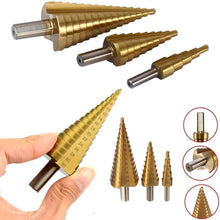 Load image into Gallery viewer, 437 -3X Large HSS Steel Step Cone Drill Titanium Bit Set Hole Cutter (4-32, 4-20, 4-12mm)