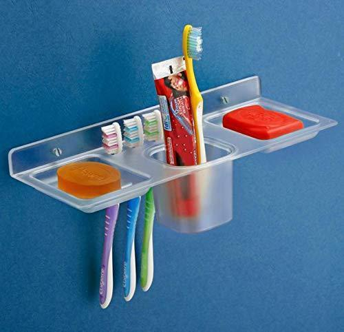 756_ABS Plastic 4 in 1 Multipurpose Kitchen/Bathroom Shelf/Paste-Brush Stand/Soap Stand/Tumbler Holder/Bathroom Accessories