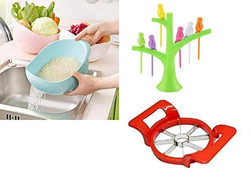 Shoppinglake.com Kitchen Combo - Plastic Rice Bowl Strainer, Bird fork and Apple cutter