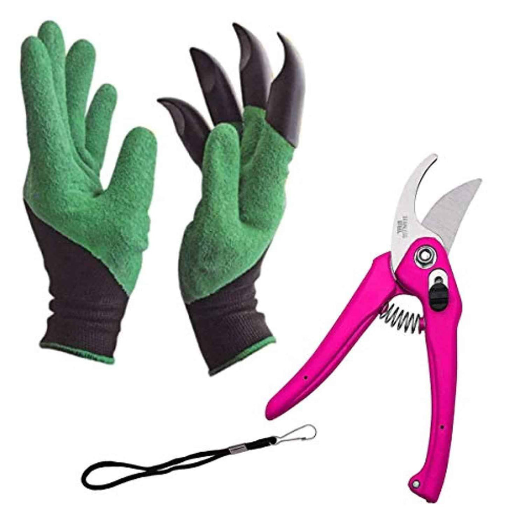 Shoppinglake.com Gardening Tools - Garden Gloves with Claws for Digging and Planting, 1 Pair Ergonomic Grip, Incredibly Sharp Secateurs