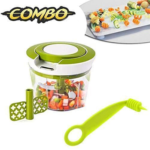 Shoppinglake.com Kitchen combo - Manual 2 in 1 Handy smart chopper for Vegetable Fruits with spiral cutter