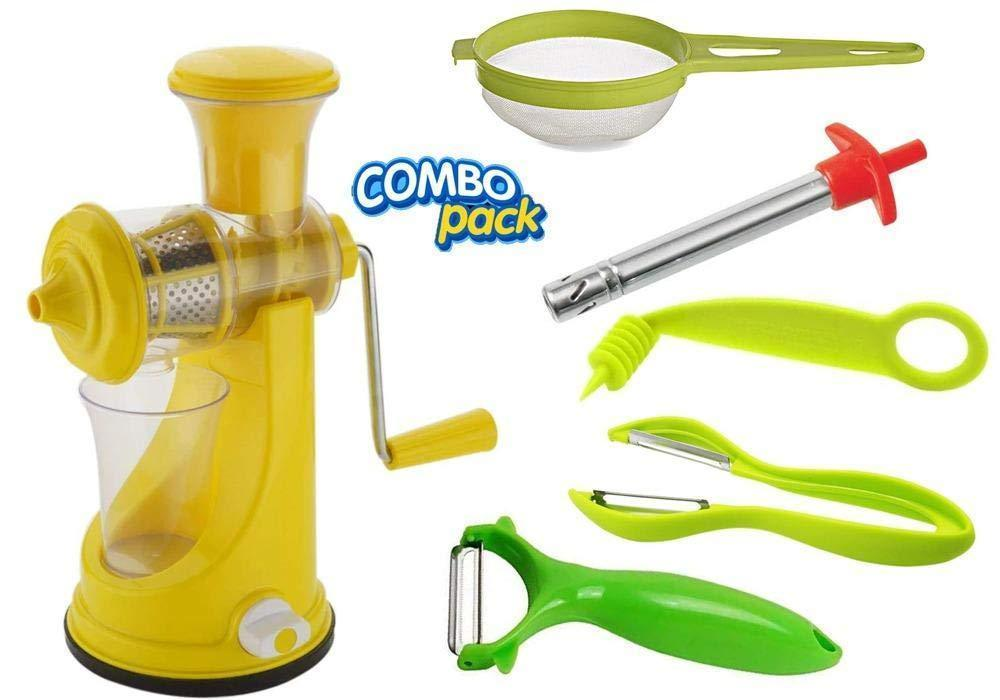 Shoppinglake.com Kitchen combo - Manual Fruit Juicer, Vegetables Spiral Cutter, Gas Lighter, Big Tea Strainer Sieve/Chai Chalni with Single sided & Double sided peeler (6 pcs)