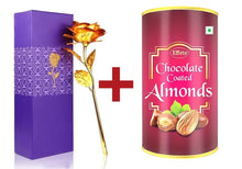 Load image into Gallery viewer, 045+879 Effete Festival Gift Combo - Chocolate Coated Roasted Almond 96gm with Golden Rose 10 INCHES with Carry Bag