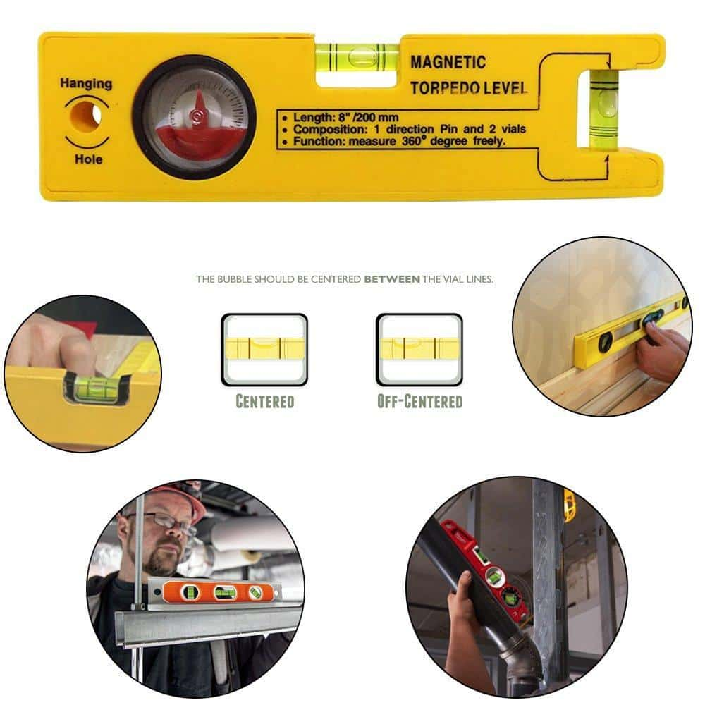 8-inch Magnetic Torpedo Level with 1 Direction Pin, 2 Vials and 360 Degree View