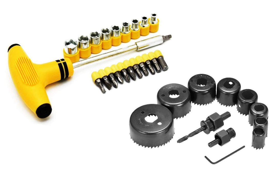 Shoppinglake.com Professional 11 Pieces Hole Saw Cutter Set Cutting Tool with 24 Pieces T Spanner Socket Set