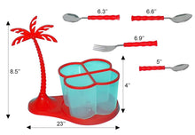 Load image into Gallery viewer, 111 Dining/Cutlery Set with Coconut Tree Design stand(24pcs)