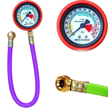 Load image into Gallery viewer, Shoppinglake.com Vehicle Tools - Heavy Steel Body Foot Pump, Tyre Puncture Plug Repair Kit with Tyre Air Pressure Gauge Hose (3pcs)