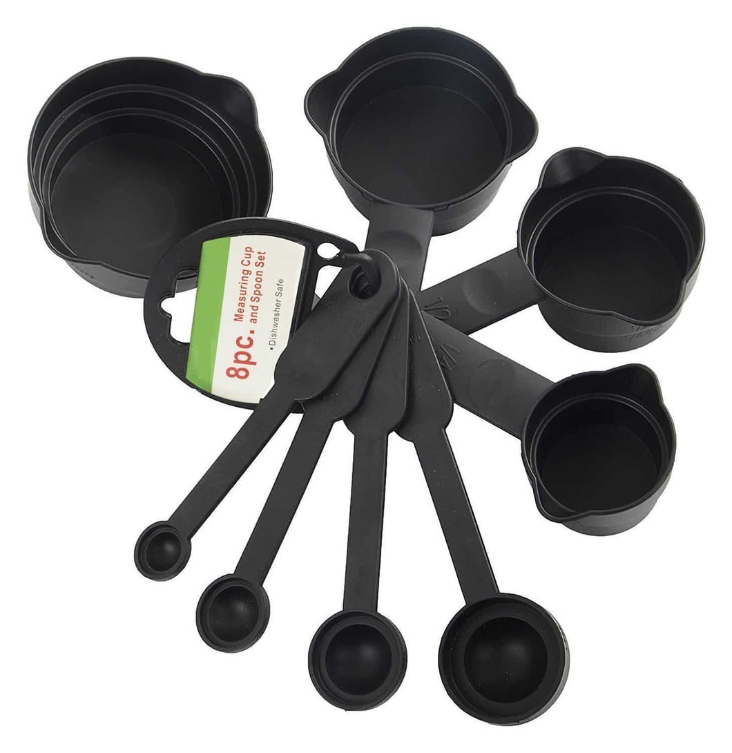 106 Plastic Measuring Cups and Spoons (8 Pcs, Black) (No Box)