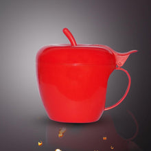 Load image into Gallery viewer, 864 Fancy Green apple shaped plastic tea/coffee mug or cup with lid