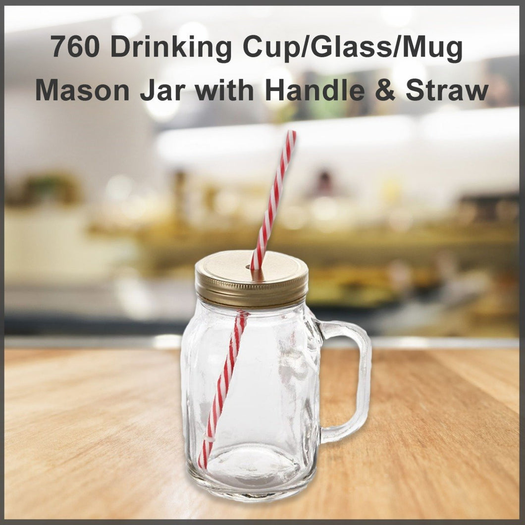 760 Drinking Cup/Glass/Mug Mason Jar with Handle & Straw