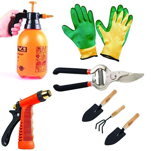 Shoppinglake.com Gardening Tools - Water Lever Spray Gun | Cultivator, Small Trowel, Garden Fork | Pressure Garden Spray Bottle | Falcon Gloves | Garden Shears Pruners Scissor (8-inch)