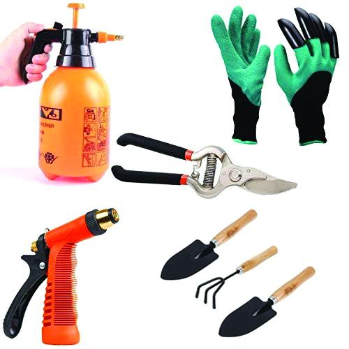 Shoppinglake.com Gardening Tools - Water Lever Spray Gun | Cultivator, Small Trowel, Garden Fork | Pressure Garden Spray Bottle | Genie Gloves | Garden Shears Pruners Scissor (8-inch)