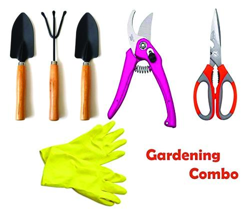 Shoppinglake.com Gardening Combo - Cultivator, Trowel, Garden Fork, Flower Cutter (Hedge Shears), Household & Garden Scissor with Rubber Gloves(1pair)