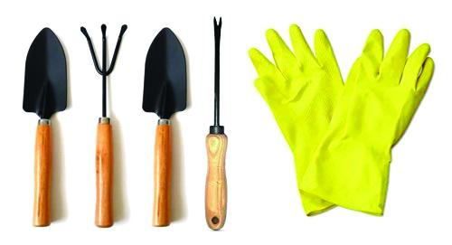 Shoppinglake.com Gardening Tools - Hand Cultivator, Small Trowel, Garden Fork, Hand Weeder Straight with 1-Pair Rubber Gloves (Set of 5)