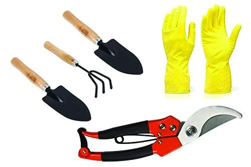 Shoppinglake.com Gardening Tools - Reusable Rubber Gloves, Pruners Scissor(Flower Cutter) & Garden Tool Wooden Handle (3pcs-Hand Cultivator, Small Trowel, Garden Fork)