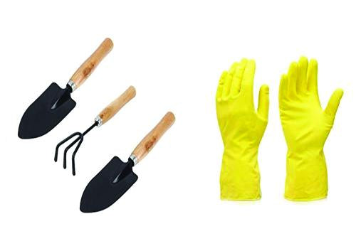 Shoppinglake.com Gardening Combos Tool kit - Hand Cultivator, Small Trowel, Garden Fork with Gardening Reusable Gloves