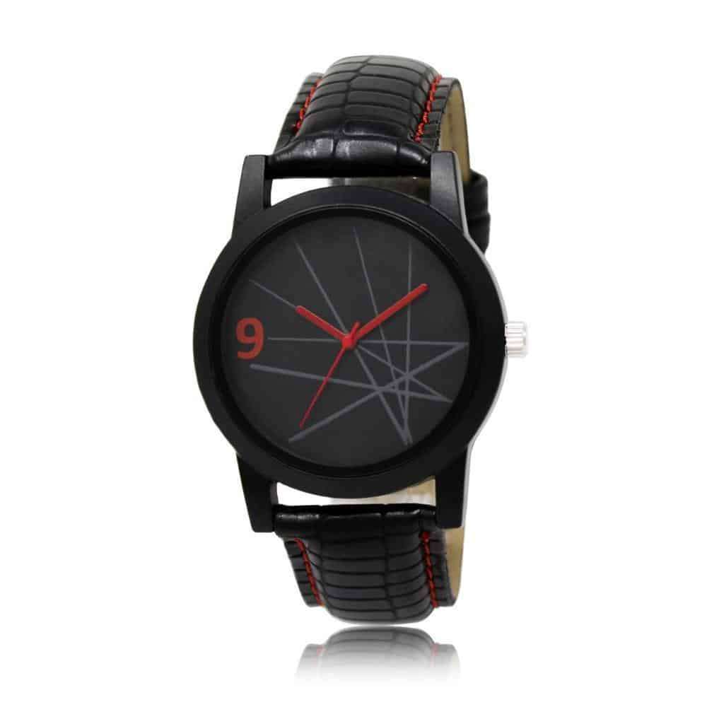 1813 Unique & Premium Analogue Watch Lines with black Dial Leather Strap (Watch 13)