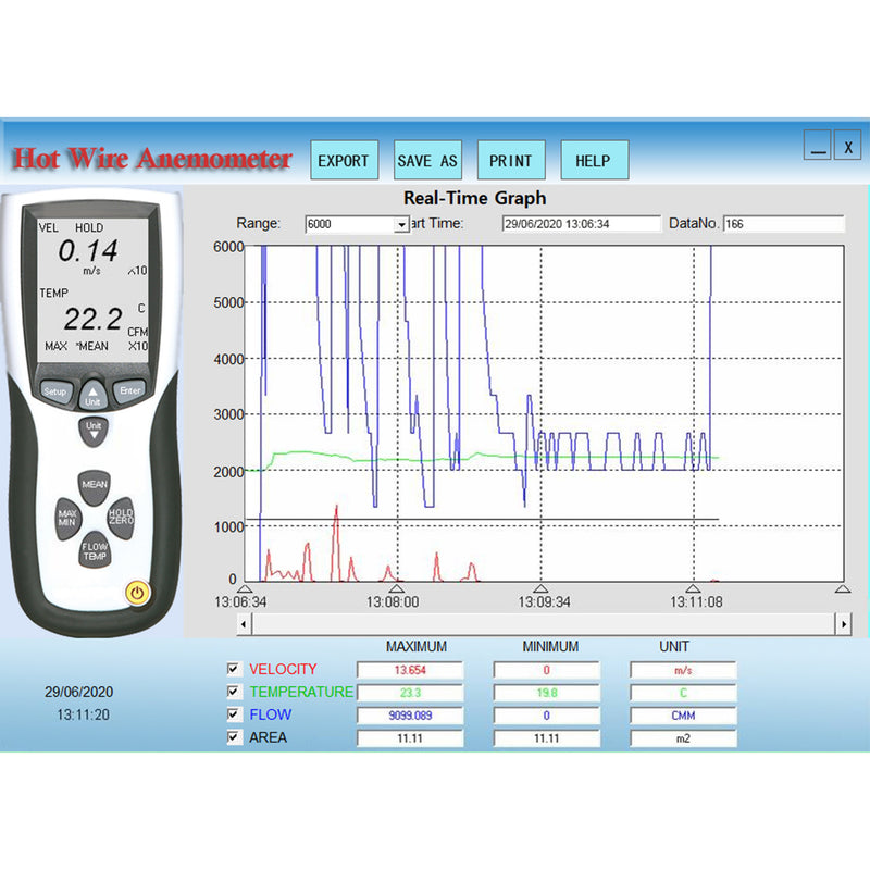Data Logging Hot-wire Thermo-Anemometer Software