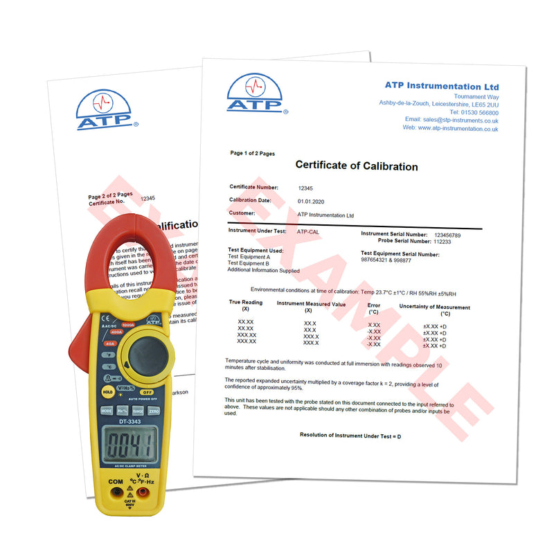 Clamp Meter Calibration Certificate (Traceable)