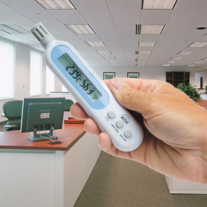 Pen-type Thermo-Hygrometer in Hand