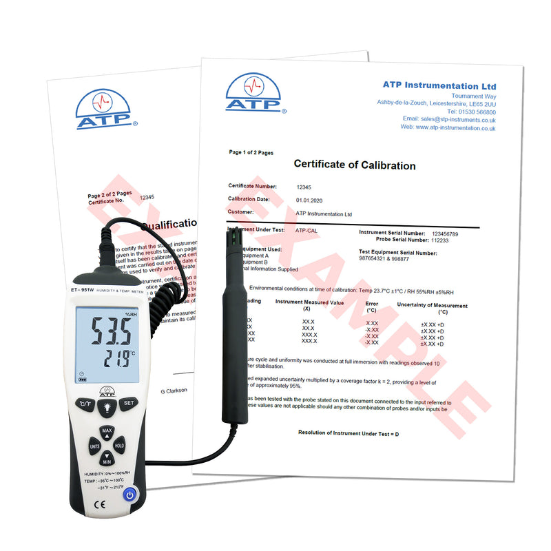 Humidity Meter Calibration Certificate (Traceable - CAL-HT)