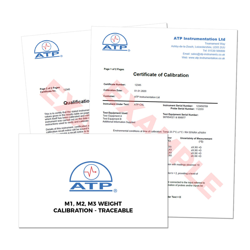 M1, M2, M3 Weight Calibration Certificate (Traceable)