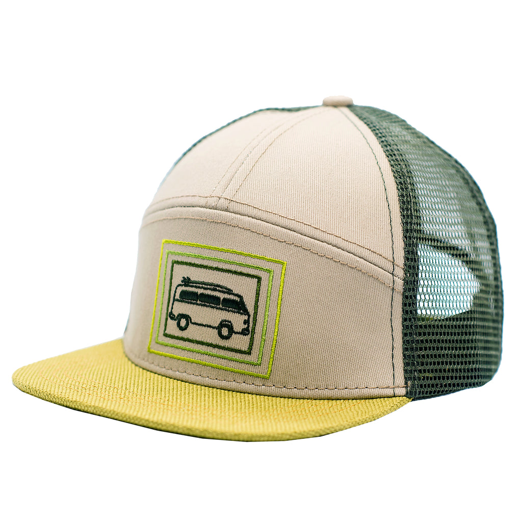 Vintage bus, kids trucker hat, green and yellow with a surfboard by Wild and Free children's hats.  Best fitting kids sun hats for babies and toddlers.