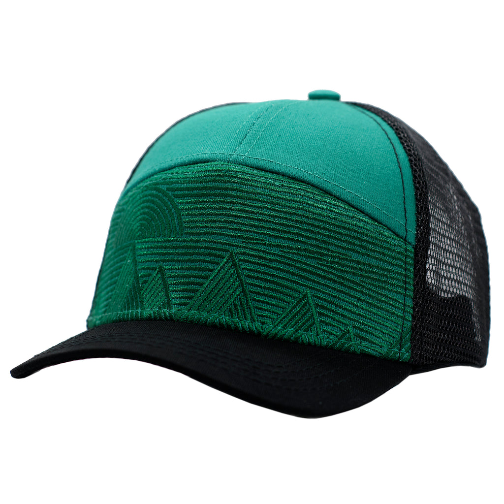 Green mountain kids trucker hat by Wild & Free children's hats.